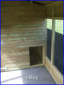 10 x 6 Pent Dog Kennel with Covered Run Area Pressure Treated Wall Claddings