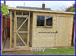 10x8 SHED WITH DOG RUN KENNEL COMBI TANALISED
