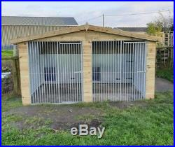 12 x 12 ft Double Dog Kennel And Run With Galvanised Upgrade