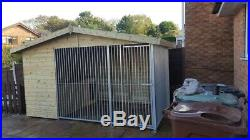 12 x 8 ft Single Dog Kennel And Run With Bed Box