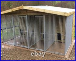 16x10ft 4 bay dog kennel and run
