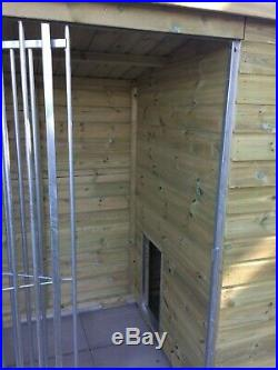 8x4 Single Wooden T&G Dog Kennel & Run FREE anti-chew strips Galvanised dog run