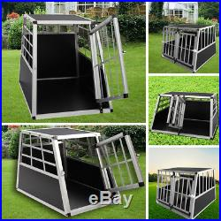 Aluminium Travel Dog Pet Crate Run Kennel For Car Boot with Safety Lock 1/2 Door