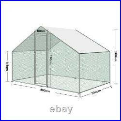 Chicken Run Metal Coop for Hens Poultry Chain Link Dog Kennels Pets Coop 4M2M