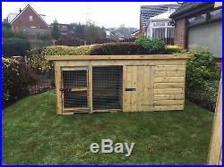 Dog Kennel And Run 10x4 Compact 3'9 Tall Tanalised Mesh Front Door