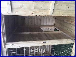 Dog Kennel And Run 12x4 Compact 3'9 Tall Tanalised Mesh Front Door