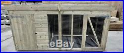 Dog Kennel And Run 8ft x 4ft Log Lap Pressure Treated Timber Fast & Free