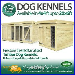 Dog Kennel & Run 10ft x 4ft Full 6ft Height Pressure Treated Tanalised Timber