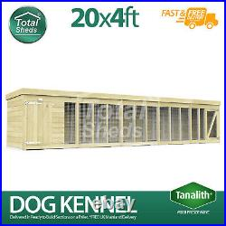 Dog Kennel & Run 20ft x 4ft Fully Pressure Treated Tanalised Timber Free Deliver
