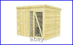Dog Kennel & Run 8ft x 6ft Full 6ft Height Pressure Treated Tanalised Timber