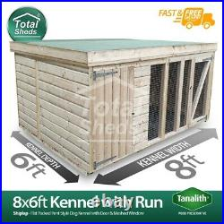 Dog Kennel & Run 8ft x 6ft Fully Pressure Treated Tanalised Timber Free Delivery