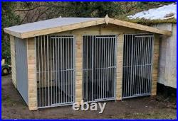 Dog kennel and run Deluxe Triple 12 ft x 10 ft tanalised delivery available