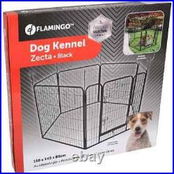 FLAMINGO Dog Kennel Black Pet Run Crate Playpen Cage Outdoor Indoor Supply