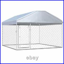 Galvanised Steel Outdoor Dog Cage Kennel Roof Pet House Enclosure Run Playpen