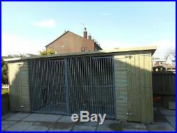 Large Pent Wooden Double Dog Kennel and Run Duo dog kennel for sale galvanised