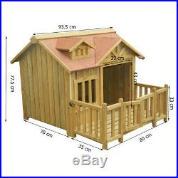 Luxury XL Dog kennel Dog house Wood Balcony Garden Veranda Dog Outdoor