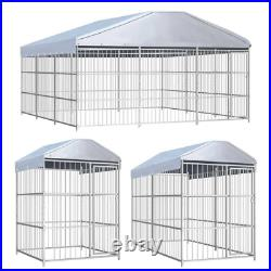 Outdoor Dog Kennel House with Roof Garden Fence Exercise Playpen Shelter Silver