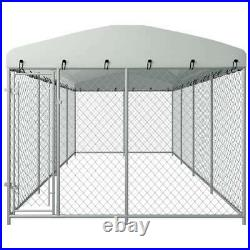 Outdoor Dog Kennel Large Pet Playpen Run House Exercise Fence Metal Cage 8x4x2 m