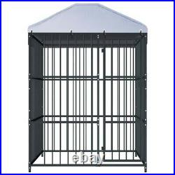 Outdoor Dog Kennel With Roof Heavy-duty Steel Pet Puppy House Enclosure Run Cage