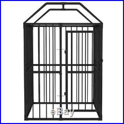 Outdoor Heavy Duty Steel Dog Kennel with Roof Pet Cage Bar Wall Lockable Door