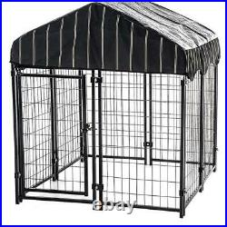 Outdoor Pet Cage Dog Kennel Steel Wire Pen Run House Covered Shade Shelter Yard