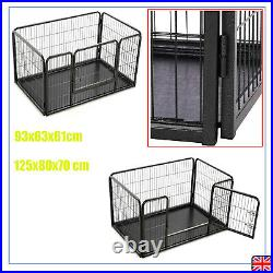 Puppy Playpen Run Crate Cage Steel Pet Dog Kennel Fence Folding Enclosure Black