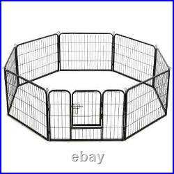 VidaXL Dog Playpen 8 Panels Steel 60x80cm Black Enclosure Run Cage Kennel
