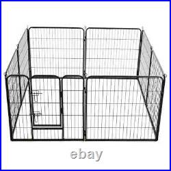 VidaXL Dog Playpen 8 Panels Steel 80x80cm Black Enclosure Run Cage Kennel