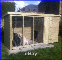 Wooden Dog Kennel and Run Tanalised Timber Strong Pet House Fully T&G