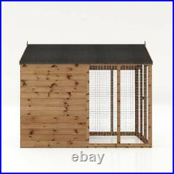 Wooden Garden Dog Kennel & Run 8x6 Outdoor Garden Building Apex Roof 8ft 6ft